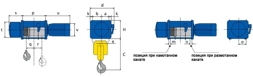 Технические характеристики стационарных тельферов серии М и МТ