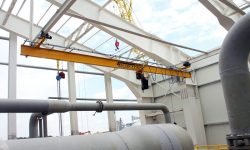 Single-girder suspended crane with lifting capacity of 1.0 t at an altitude of almost 20 m for the enterprise in the Zhitomir region